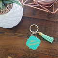 PERSONALISED ENAMEL/METAL KEYRING WITH TASSEL- MINT GREEN