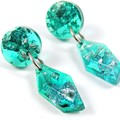 Mini dangles - transparent blue & green with silver flakes