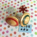 Two Wooden Spinning Tops with Christmas Colours (Items R 105 a & b)