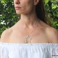 Swarovski AB crystal star, Sterling Silver, necklace
