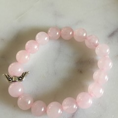 Rose Quartz Gemstone Beaded Bracelet with Angel Wings (Dyed)