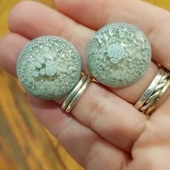 Resin Earrings - Light Grey