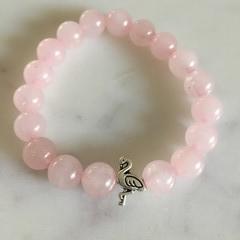Rose Quartz Gemstone Beaded Bracelet with Silver Flamingo Bead (Dyed)