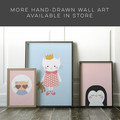 Panda print in blue kids art print // kids wall art // newborn baby gift