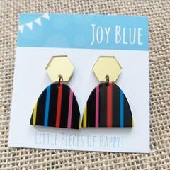Gold mirror / stripe earrings