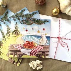 "Australian Christmas cards pack of 5,""'Tis the season"", Hand illustrated"