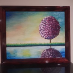 Reflective Topiary Tree Painting 60.8cm (W) x 50.6cm (H)