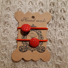 Hairband / Elastic - Christmas Red & Gold / fabric covered button (19mm)