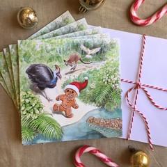 Australian Christmas cards pack of 5, Australian animals, Hand illustrated