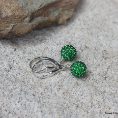 "Green Swarovski pave ""disco balls"", Sterling Silver, earring"
