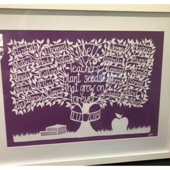 """Class gift, A3 Deluxe Teacher Tree"" Personalised Teacher Gift. Paper Cut Art."