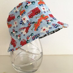Boys summer hat in emergency vehicles fabric