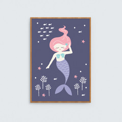 Mermaid girls art print // kids art print under the sea // illustrated mermaid