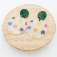 Large colourful dot earrings