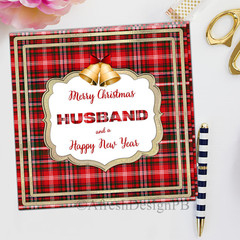 Tartan Christmas Husband Greeting Card