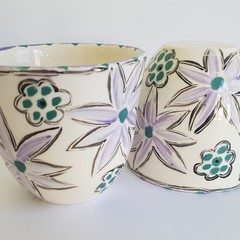 Set of two, handmade, ceramic, tea cups.