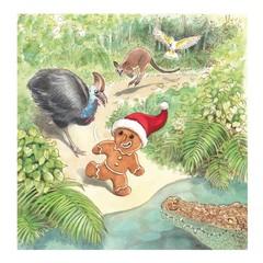 Australian Christmas card, Australian animals, Hand illustrated, Caroline Keys
