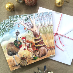 Australian Christmas card pack of 5, Australian animals, Hand illustrated