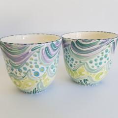 Set of two, handmade, ceramic, tea cups.