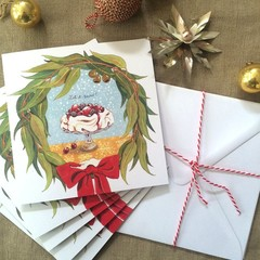 "Australian Christmas cards pack of 5,""Let it snow!"", Hand illustrated"