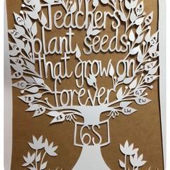 """Class gift, Teacher Tree"" Personalised Teacher Gift. Paper Cut Art."