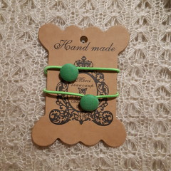 Hairband / Elastic - Green / fabric covered button (15mm)