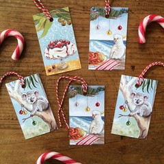 Australian Christmas gift tags, pack of 5, Caroline Keys