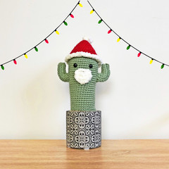 Crochet Santa Cactus in Cement Pot