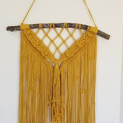 Banksy Large Macrame Wall Hanging in mustard, other colours to choose from.