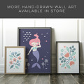 Floral Art print in blue // hand drawn flowers // A3 art print for kids room