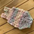 Crochet rainbow newborn romper size 0-3 months