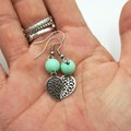 Leaf Earrings with Mint Green Bead.