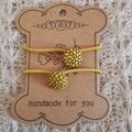 Hairband / Elastic - Marigolds  / fabric covered button (15mm)