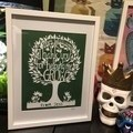 """Teacher Tree"" Personalised Teacher Gift. Paper Cut Art."