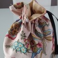 Floral Shabby Chic Drawstring Pouch,  Lined,  Jewelry Make Up Gifting Bag