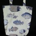 Tote Shoulder Bag Nautical Beach Lined Sashiko Fabric