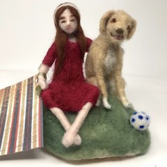 Needle felted art doll, needle felted Labrador dog, waldorf soft sculpture