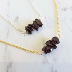 Natural Garnet stone bar Necklace ( January birthstone, Wine red Healing gem )