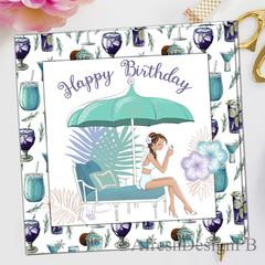 Summer Happy Birthday Girl Greeting Card