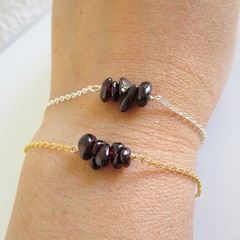 Natural Garnet stone bar Bracelet ( January birthstone, Wine red Healing gem )