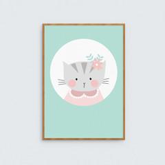 Kitty Cat art Print // Girls room decor wall art // Illustrated cat print