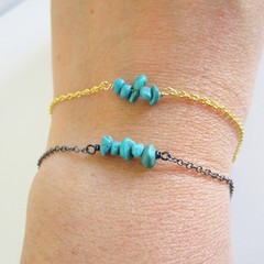 Natural Turquoise stone bar Bracelet ( December birthstone,  Blue Healing gem )