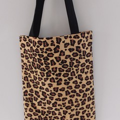 Animal Skin Tote Cotton Canvas  Fabric Eco Friendly Handmade Market, Library/