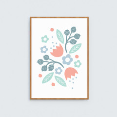 Teal, Blue and Orange Floral Art Print // Kids room Wall Art // Botanical Art