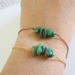 Natural Jade stone bar Bracelet ( Green Healing gemstone , Power stone)