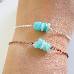 Natural Amazonite stone bar bracelet ( Turquoise Blue Healing gemstone )