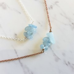 Natural Aquamarine stone bar necklace (March birthstone, Blue Healing gemstone )