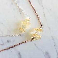 Natural Citrine stone bar Necklace ( November birthstone, Brown Healing gem )