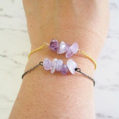 Natural Amethyst stone bar Bracelet ( February birthstone, Purple Healing gem )