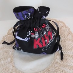 KISS  Rock'n roll Band Drawstring Fabric Pouch, Bag, Make Up, Jewelry,